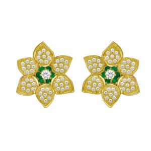 Diamond and emerald flower earrings in 14k.
