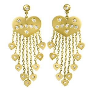 Diamond heart earrings in in 18k with hanging hearts