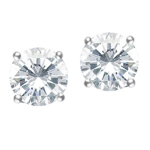 Tiffany & Co Diamond stud earrings in platinum. 1.07 cts each H, VS1