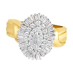 Ballerina diamond ring in 14k gold. 1.42 carats in diamonds. Size 9