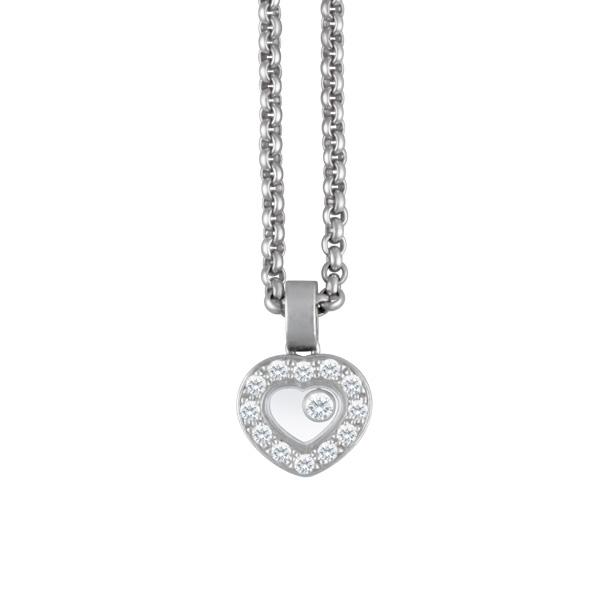 Chopard Happy Diamond heart pendant in 18k white gold with diamonds