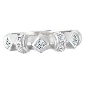 Geometric diamond ring set in matte finish 14k white gold. 0.50 carats. Size 7.5