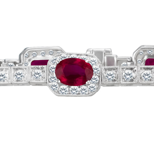 Ruby And Diamond Bracelet In 14k White Gold With App 8.5 Cts In Oval Rubies And App 3cts In Diamonds