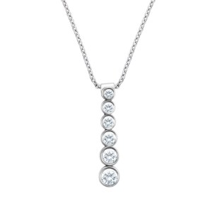 """Tiffany Jazz graduated drop pendant in platinum on an 16"""" platinum chain with 0.45 cts in diamonds"""