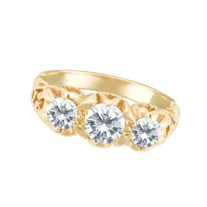 """Past, present, future"" ring in 14k yellow gold. 0.50 carat center diamond (I-J, SI)"