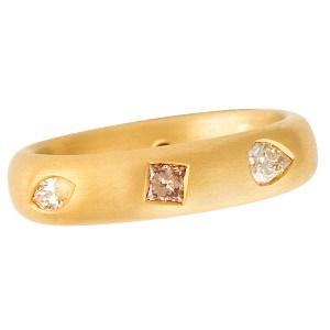 Michael Weggenman fancy diamond band in 22k gold with app. 0.70 cts in natural fancy diamonds.