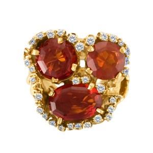 Three honey topaz and diamond ring in 14k