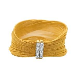 Tiffany & Co. mesh bracelet in18k yellow gold with platinum diamond clasp