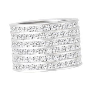 Wide platinum princess cut diamond ring