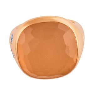 Pomellato rose quartz ring with 2 diamonds in 18k rose gold. Size 6.5