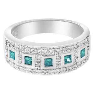 Green and white diamonds ring 14k white gold