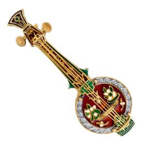 Mandolin pin/broach with enamal design