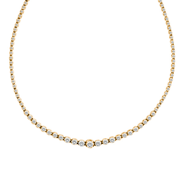 Diamond line necklace in 14k gold. 2.00 carats in diamonds