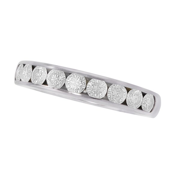 Tiffany diamond semi-eternity band in platinum w/ approx. 0.90 carats in diamonds.