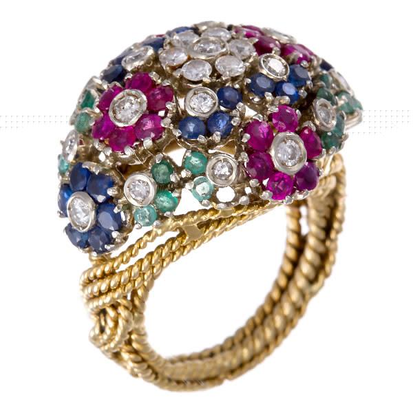 Sapphire, ruby, emerald & diamond ring