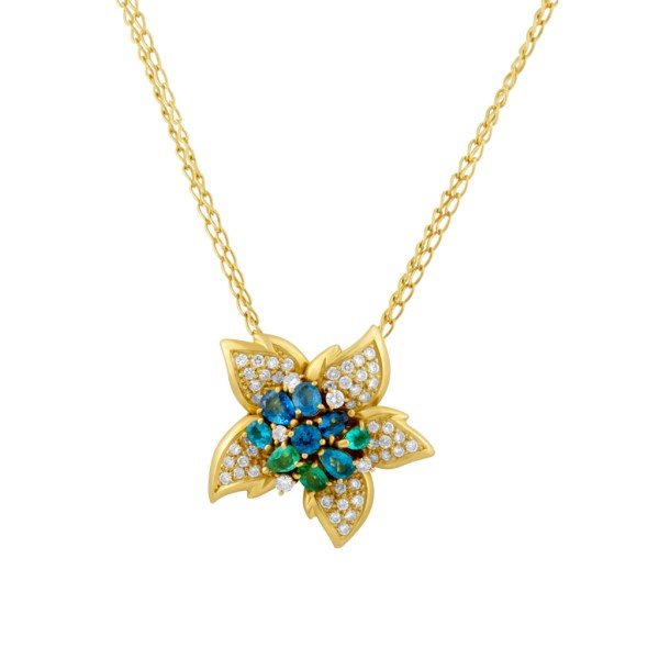 H. Stern pendant with app. 1.50 cts in diamonds with tanzanite, sapphire, emerald & morganite