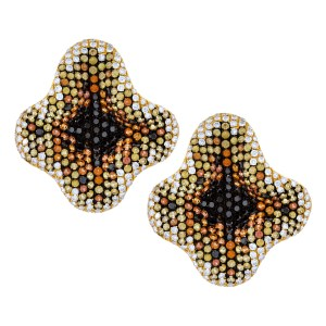 Ladies floral diamond earrings with multi color sapphires set in 18k gold.