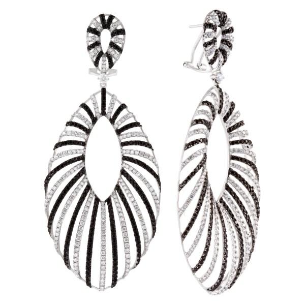 Black & white diamond swirl drop earrings
