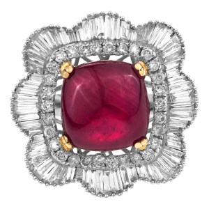 Diamond & Ruby ring in 18K white gold