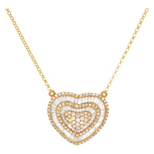 Diamond heart pendant in 18K
