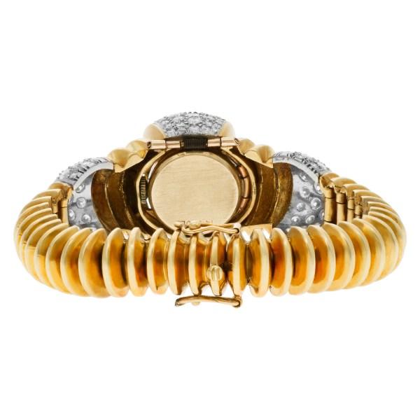 Diamond cocktail watch/bracelet with 18k yellow gold bracelet