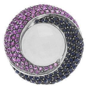 Moonstone with blue sapphires and purple amethyst ring in 18k white gold