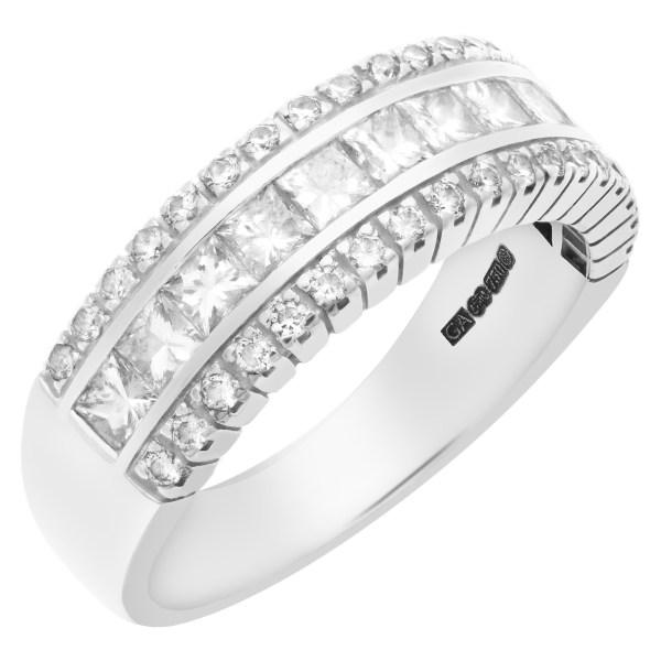 Semi-eternity diamond band in 18k white gold.