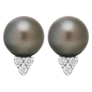 Black South Sea Cultured Pearl and Diamond stud earrings in 18K white gold