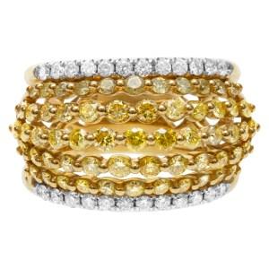 Chic yellow & white diamond ring set in 18k yellow gold. 2.03 carats. Size 6.5