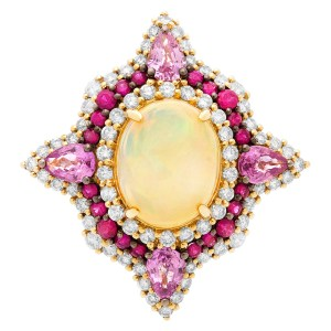 Opal, ruby & sapphire ring in 18k, 1.46 cts in diamonds, 0.75 cts in rubies & 2.02 cts sapphires