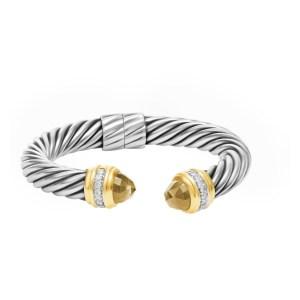 David Yurman cable clasic bracelet with smoky quartz and diamonds