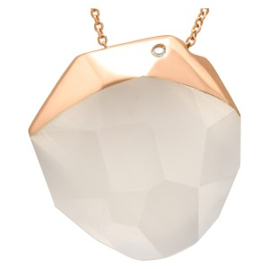 Roberto Coin faceted quartz in 18k rose gold pendant and necklace