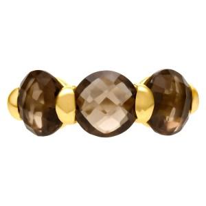 Cute smoky quartz ring in 18k yellow gold