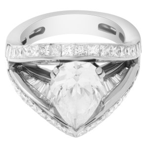 Mwi Eloquence Platinum diamond ring by Michael Werdiger. 5 Carats in diamonds. Shown with center CZ.