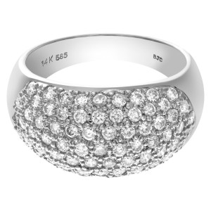 Domed Pave diamond ring in 14k white gold. 3.0 cts in pave diamonds.(G-H, SI2)