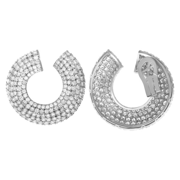 Spectacular diamond earrings in platinum. 25.00 carats (G-H color, VS clarity)