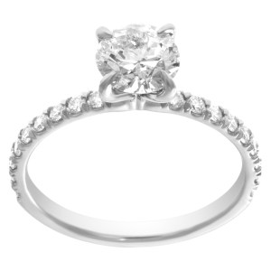 Diamond Eternity Band and Ring GIA certified round circular brilliant diamond 1.07 carat (I color, I2 clarity) set in platinum. Size 7