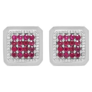 Regal ruby & diamond cufflinks in 18k white gold
