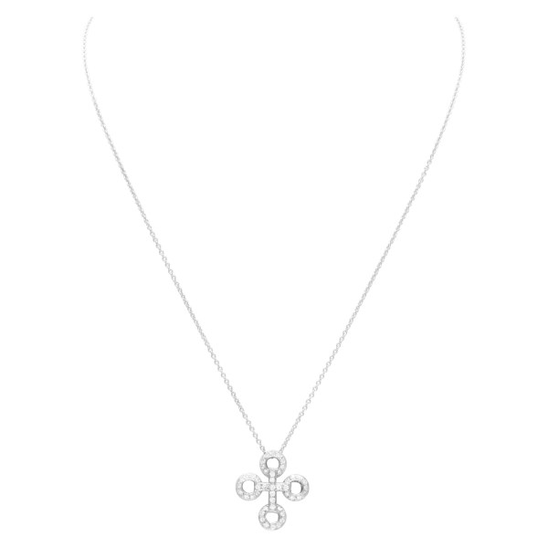 Pave Diamond cross necklace in 18k white gold. 0.50 carats in diamonds