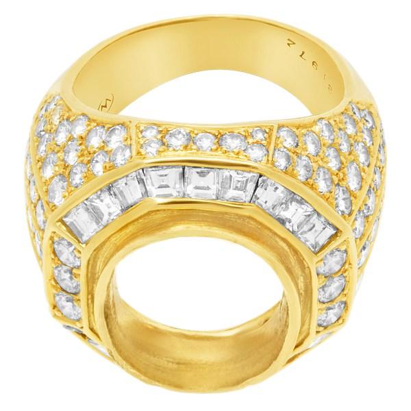 Stunning Diamond Setting in 18k yellow gold. 3.20cts in pave diamonds (F-G, VS)