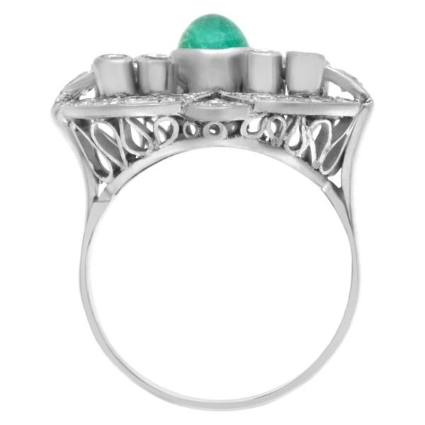 Vintage emerald and diamond ring in platinum