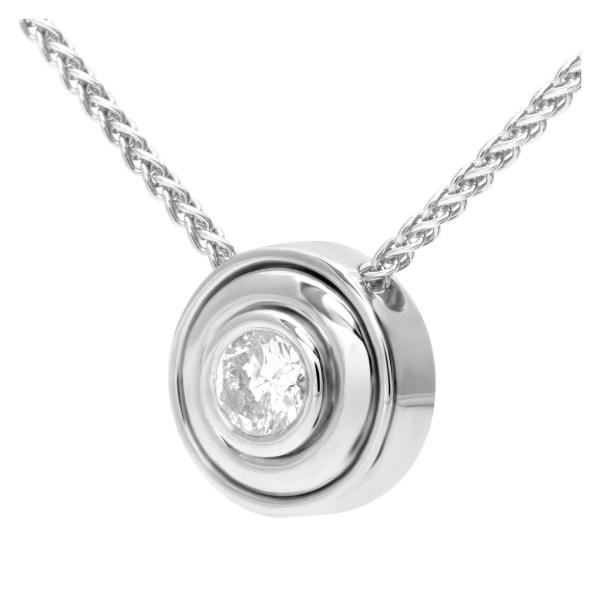 Diamond pendant and ring set in 14k white gold