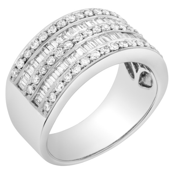 Diamond Eternity Band and Ring Baguette and Round with over 1.5cts in 18k white gold