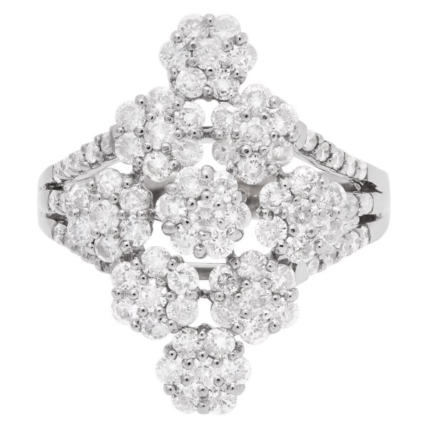 Elegant diamond flower ring with over 1 carat in diamonds in 18k white gold