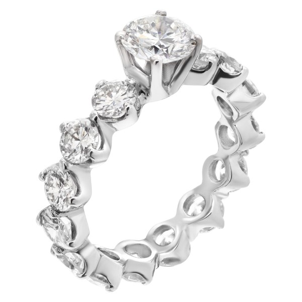 Diamond Eternity Band and Ring GIA certified round brilliant cut diamond 1.10 carat (F color, VS1 clarity)