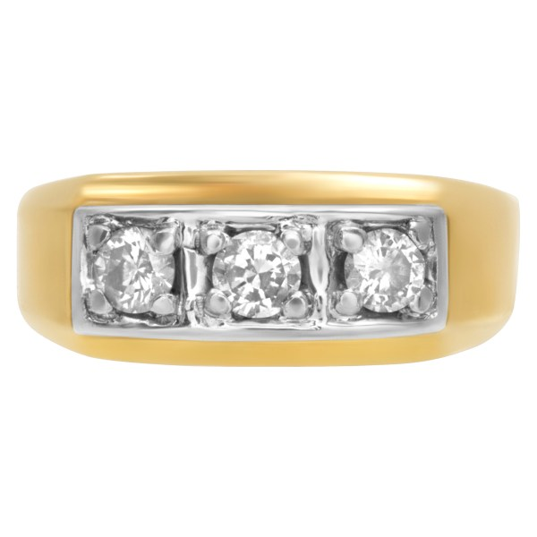 Men's classic 3 diamond ring (0.45ct) in 14k gold