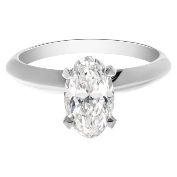 GIA certified oval brilliant cut diamond 1.52 carat (F color, VVS2 clarity) ring