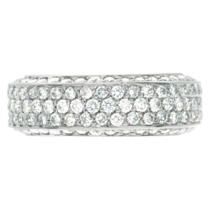 Pave Diamond Eternity Band and Ring with over 1.5 carats Diamonds set in 18K White gold