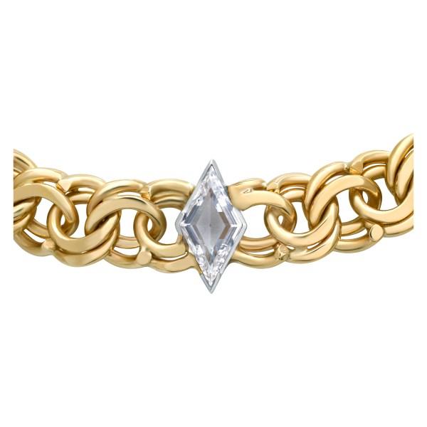 "Elegant 14k Yellow Chain Necklace Choker With ""Kite"" Cut Diamond 1.36 Ct"