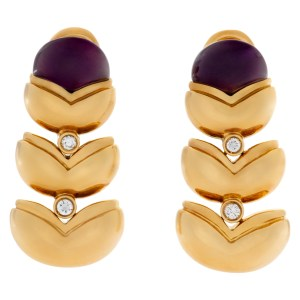 Amethyst and diamond earrings set in 18k yellow gold